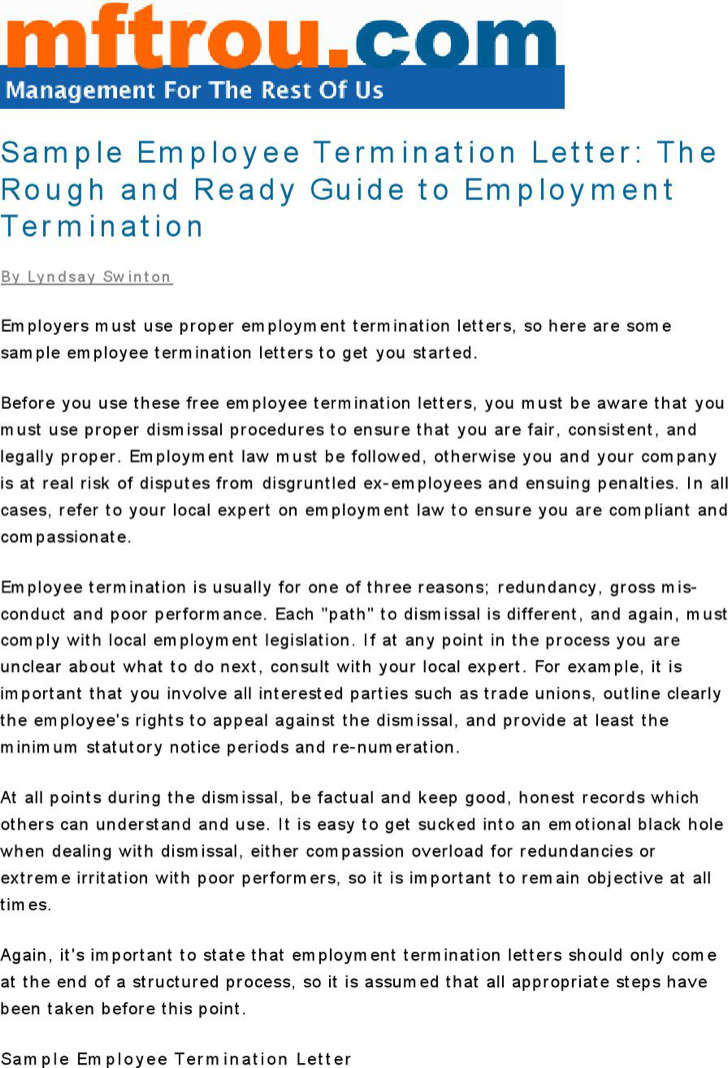 Termination Letter Sample To Employer Pdf Format