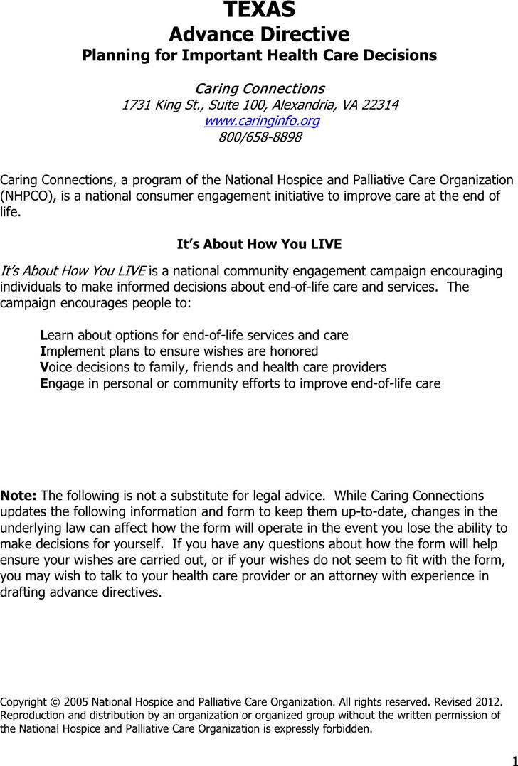 Texas Advance Health Care Directive Form