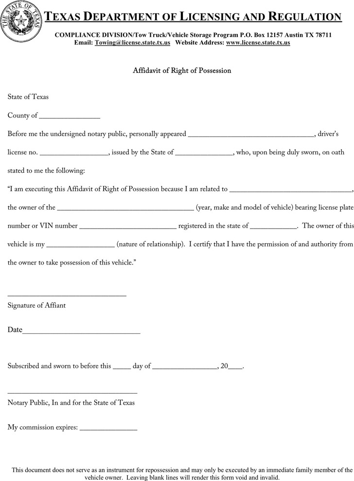 Affidavit Samples
