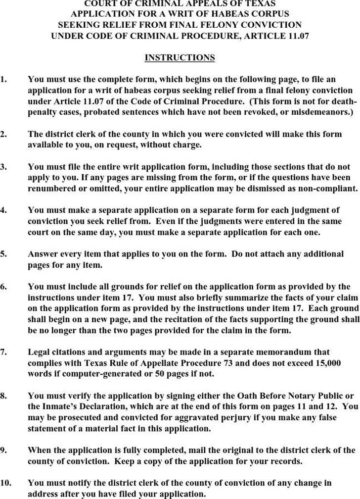 Texas Application for a Writ of Habeas Corpus 1