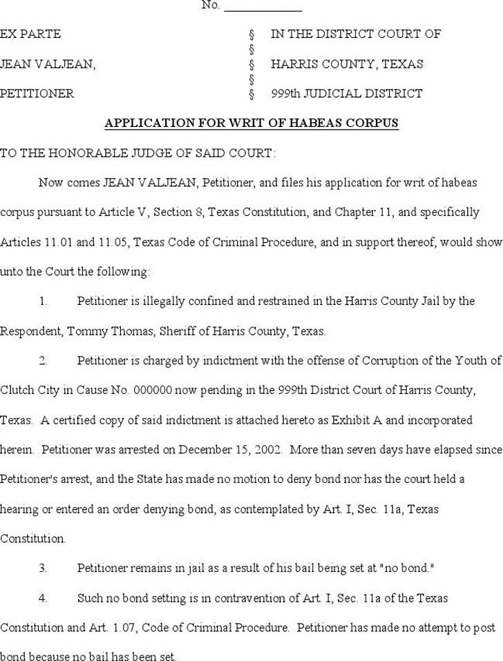 Texas Application for a Writ of Habeas Corpus 2