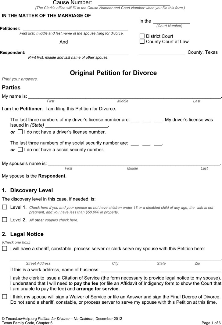 What Petition For Divorce Dissolution Sample Divorce Paper Template