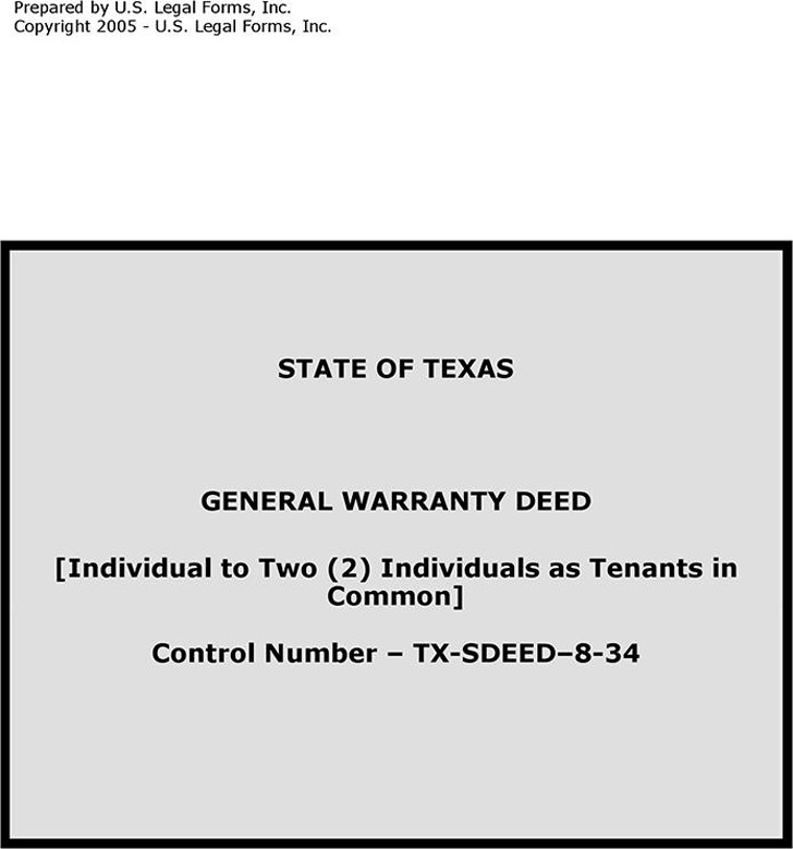Texas General Warranty Deed (Individual to Two Individual As Tenants in Common)