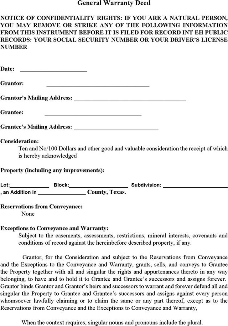 Texas Warranty Deed Form | Download Free & Premium Templates ...