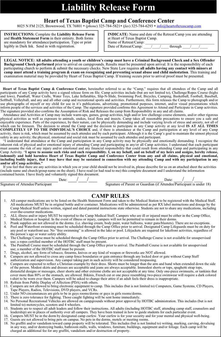 Texas Liability Release Form 3