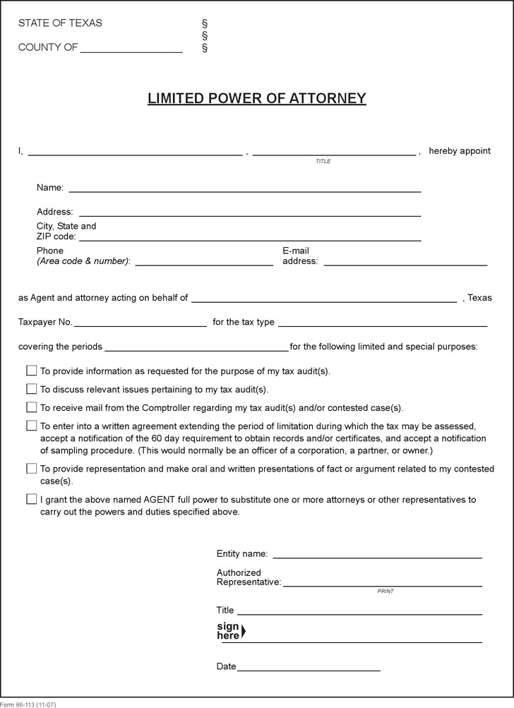 Texas Power Of Attorney Form  Download Free  Premium Templates
