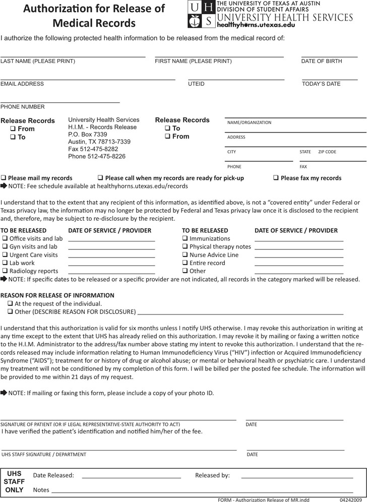 Texas Medical Records Release Form 2