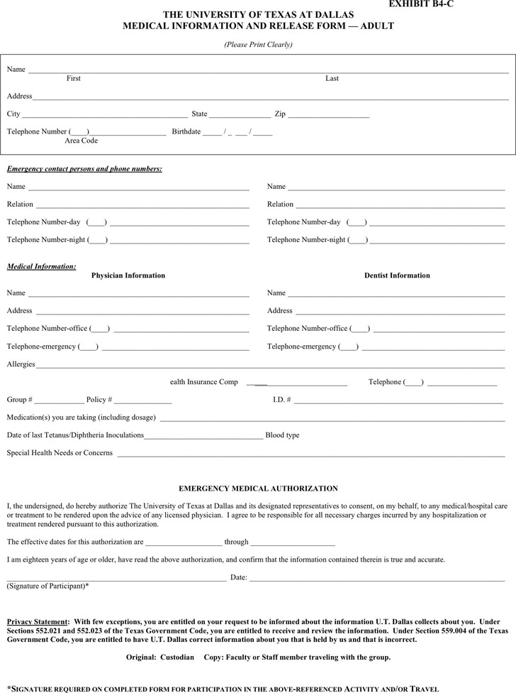 Texas Medical Release Form  Download Free  Premium Templates