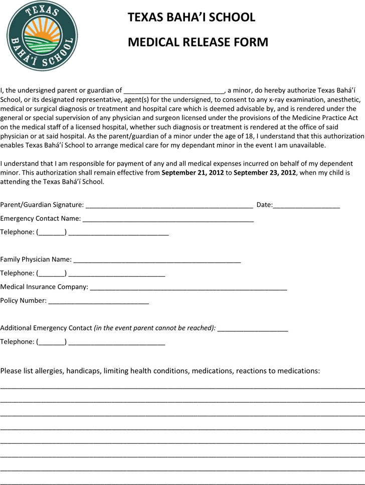 Texas Medical Release Form For Minor Child