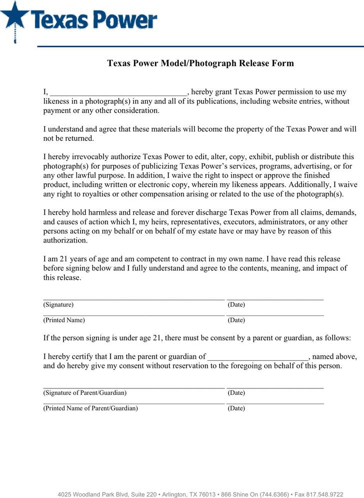 Texas Power Model Release Form