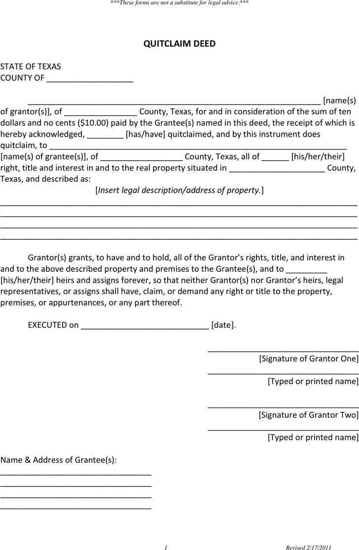 Texas Quitclaim Deed Form 1