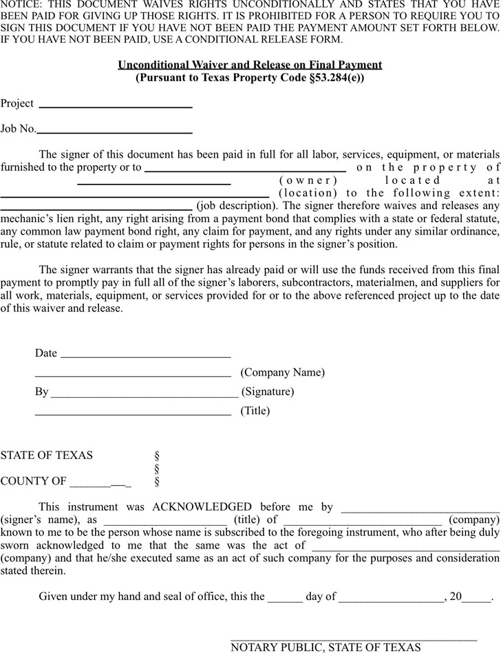 Texas Unconditional Lien Waiver And Release On Final Payment