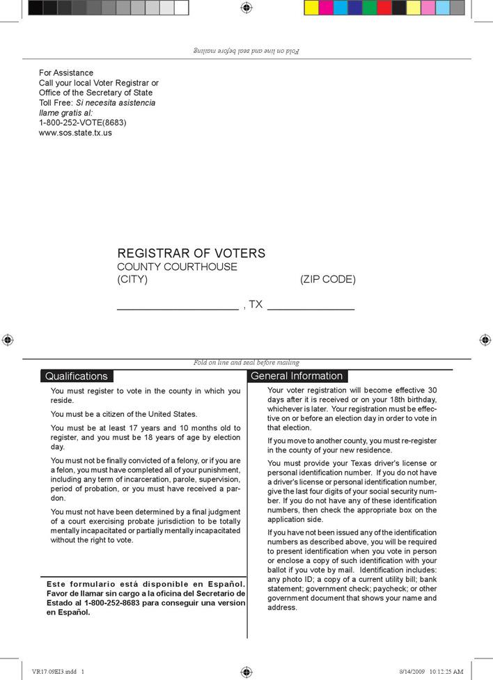 Texas Voter Registration Form