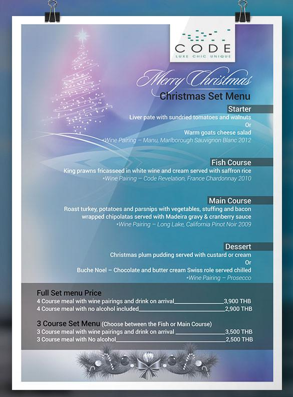 Thailand Christmas Set Menu Poster Design Download