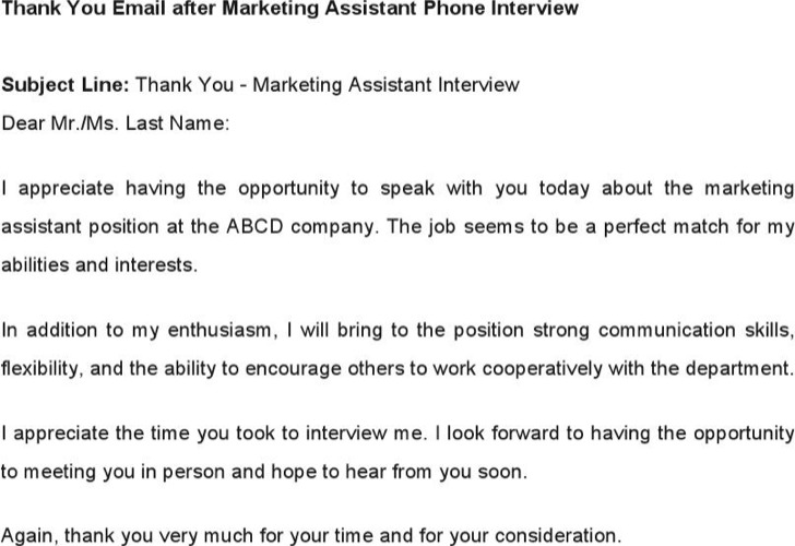 Thank You Email After Marketing Assistant Phone Interview