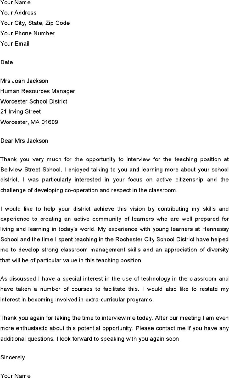 Thank You Email After Teacher Interview