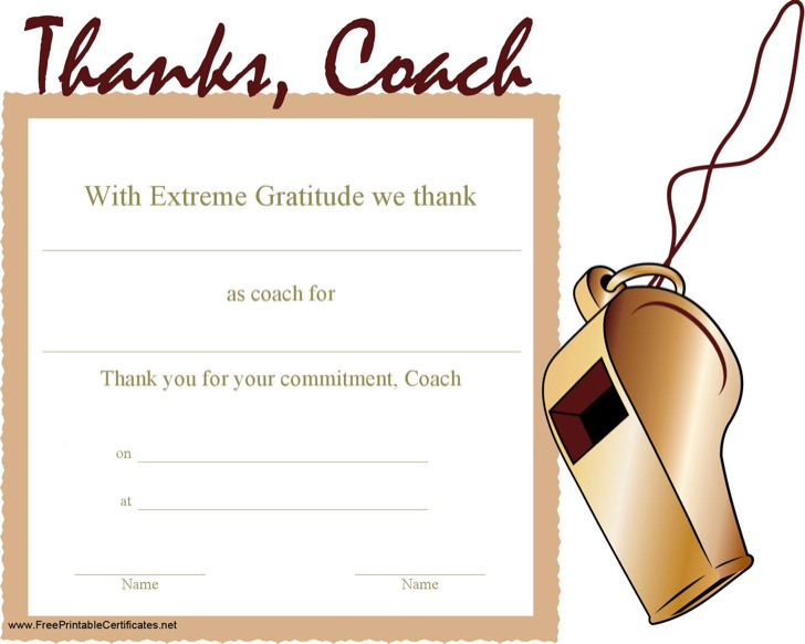 Thanking Coach Certificate Template