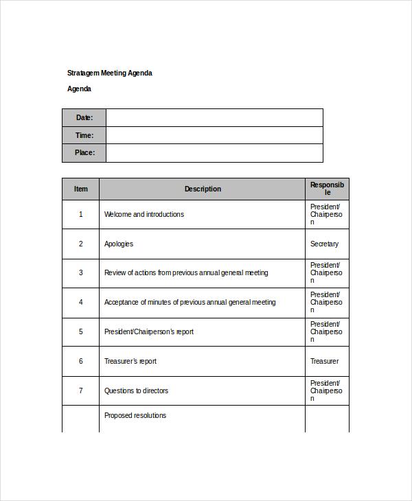 The Annual Stratagem Meeting Agenda Example
