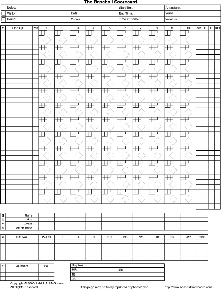 Baseball Score Sheet | Download Free & Premium Templates, Forms