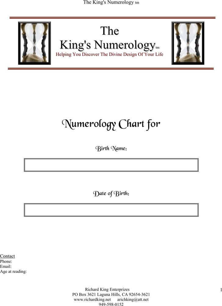 Numerology Chart  Download Free  Premium Templates Forms