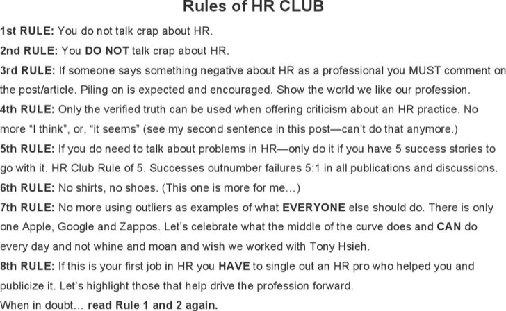 The Rules Of Hr Club