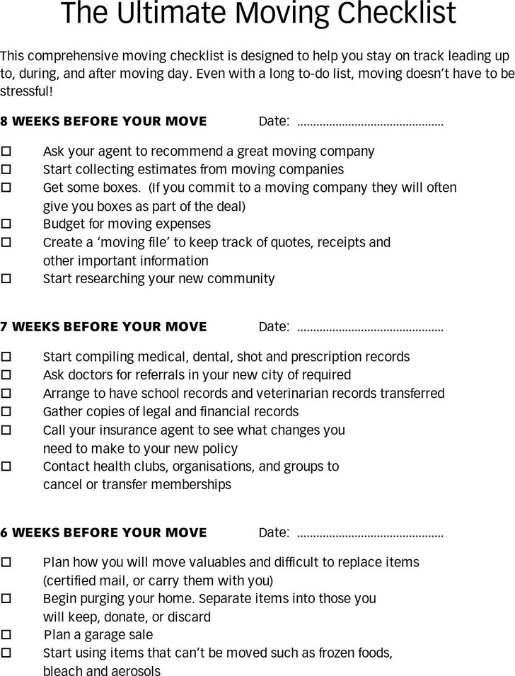 Moving Checklist Get Organized For Your Move With This Free