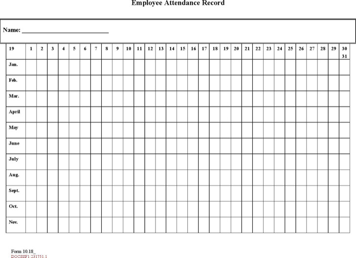 Time And Attendance Form Pdf