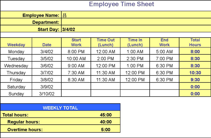 Employee Timesheet Template | Download Free & Premium Templates ...