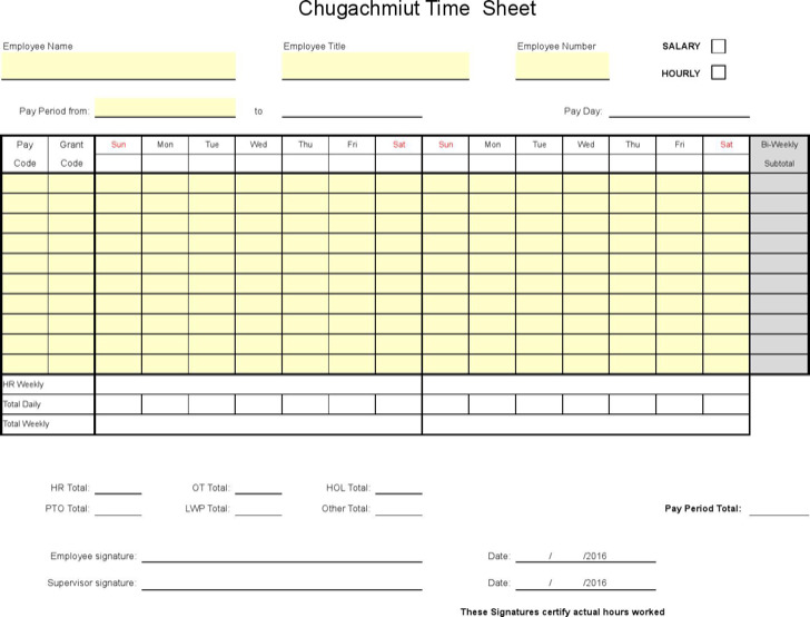 Timesheet With Payroll Calendar