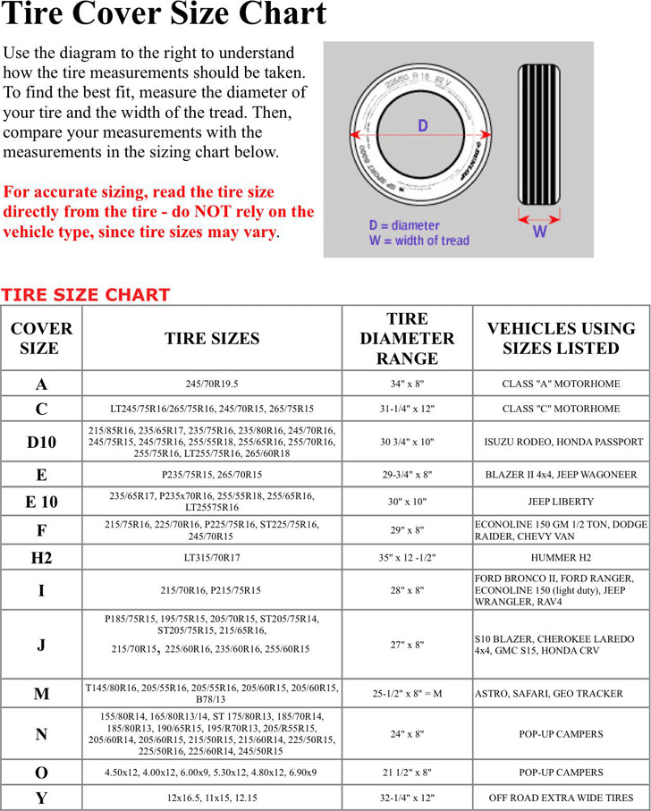 Tire Size Chart 1