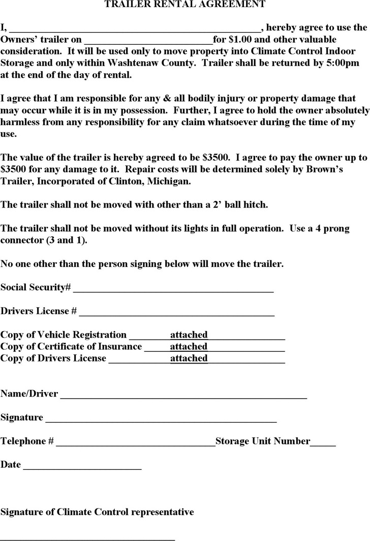 Trailer Rental Agreement Template | Download Free & Premium