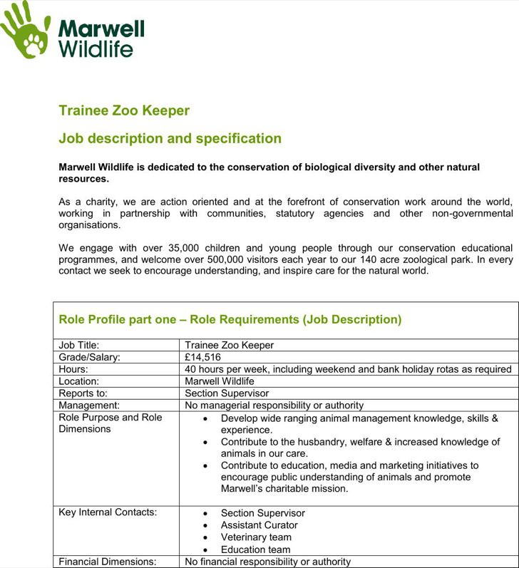 Zookeeper Resume Template