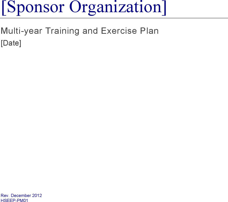 Training and Exercise Plan Template