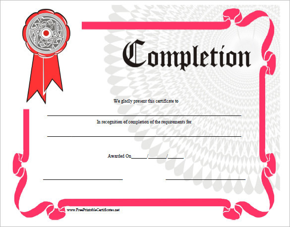 Training Completion Certificate Template