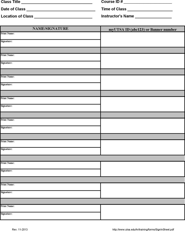 Training Sign in Sheet | Download Free & Premium Templates, Forms ...