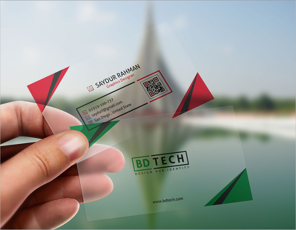 Translucent Plastic Business Card