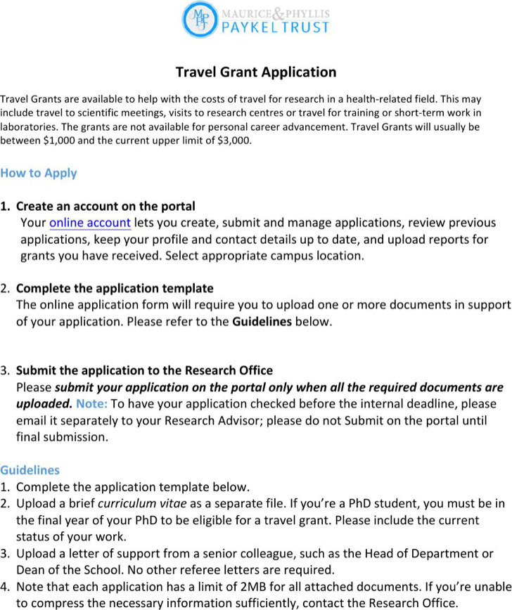 Travel Grant Application Template
