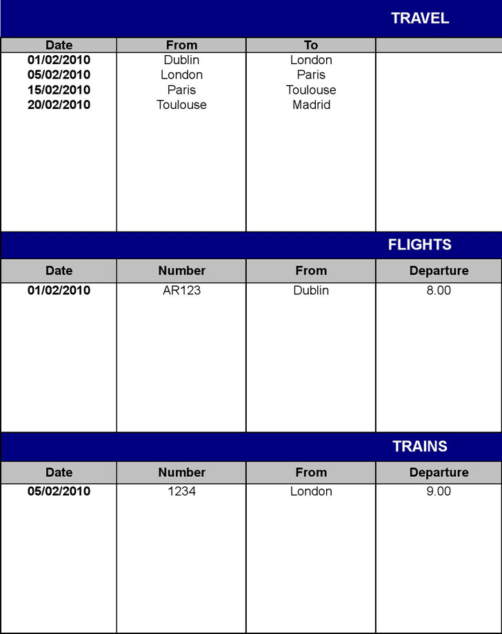 Travel Itinerary Template 1