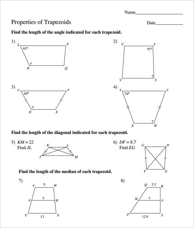 Trepizoid Coordinate Geometry Worksheet Template