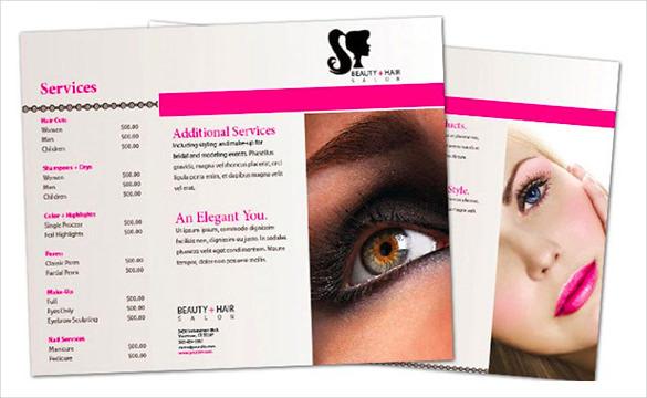 Tri Fold Beauty Parlour Brochure Design