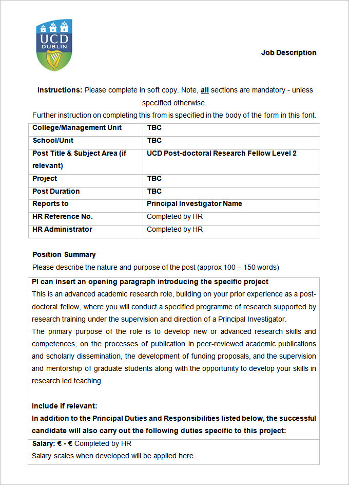 UCD Postdoctoral Researcher Job Description Template