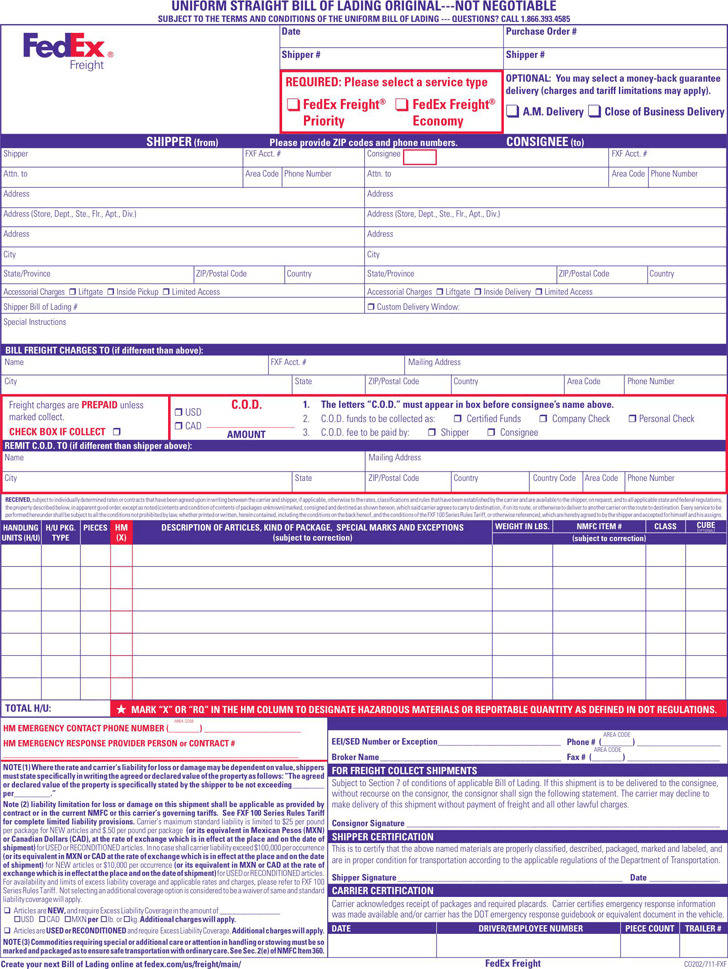 Bill of Lading Form | Download Free & Premium Templates, Forms ...