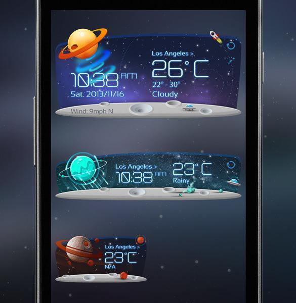 Unknow Planet Weather Widget App Design