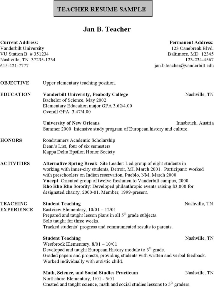 Upper Class School Teacher Resume