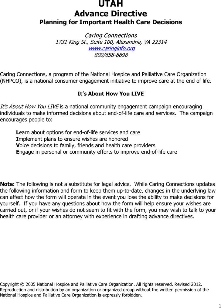 Utah Advance Health Care Directive Form 1