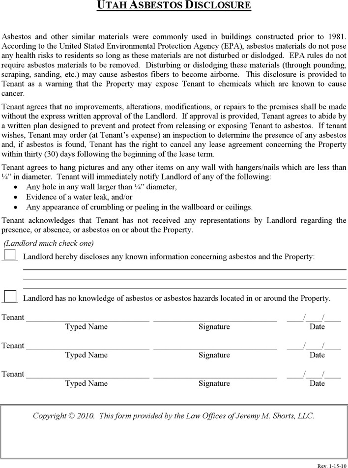 Utah Asbestos Disclosure Form