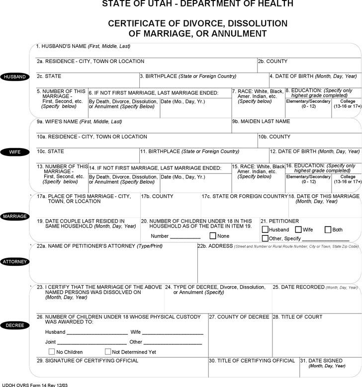 Utah Certificate of Divorce Form