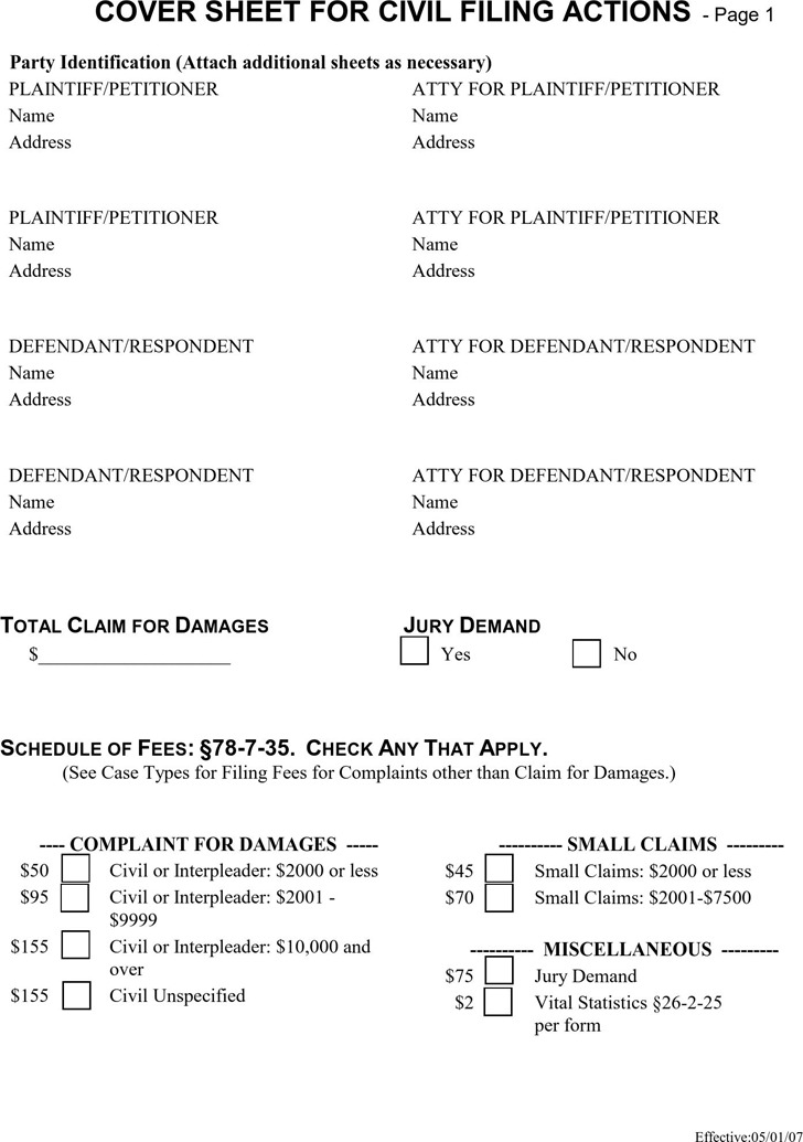 Utah Civil Cover Sheet Form