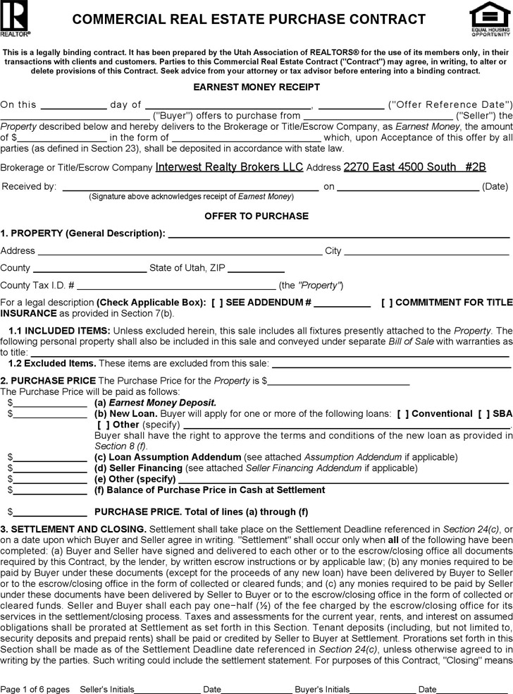 Utah Commercial Real Estate Purchase Contract Form