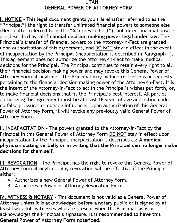Utah General Power of Attorney Form